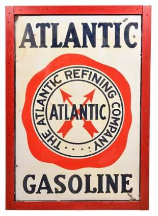 Atlantic Gasoline w/Logo Porcelain Sign