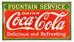 Drink Coca-Cola Fountain Service Large Porcelain Sign