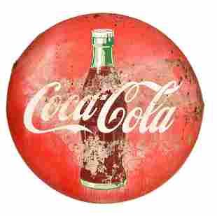 Coca-Cola w/bottle Porcelain Button Sign