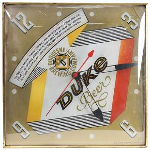 Duquesne Duke Beer Light Clock