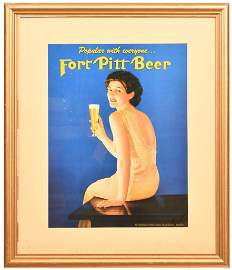 "Port Pitt Beer ""Popular with everyone"" Brunette holding"