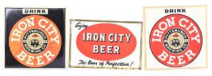 3-Different Iron City Beer Metal Sign