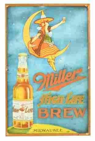 Miller High Life Brew w/Bottle & Logo Metal Sign