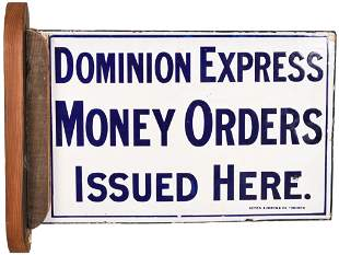Dominion Express Money Order Issued Here Porcelain Sign