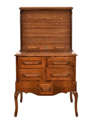 Oak Lincoln Style Desk w/Roll Top