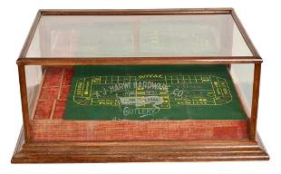 Oak Counter Top Display Case etched A.J. Harwi Hardware