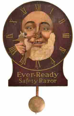 Ever-Ready Safety Razor Wooden Face Clock
