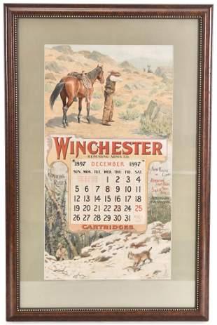 1897 Winchester Calendar w/Hunting Scene