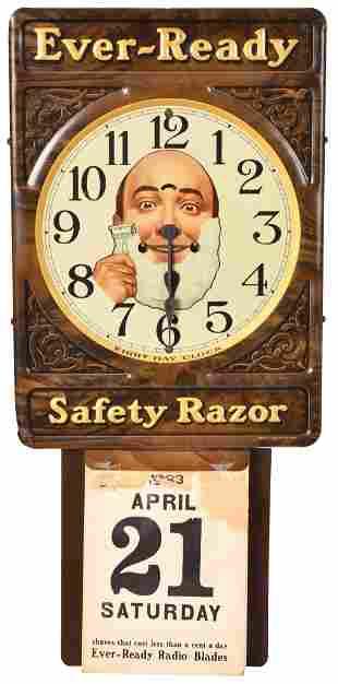 Rare Ever-Ready Safety RazorTin Clock and Calendar