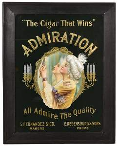 """Admiration Reverse Glass Sign. """"The Cigar That Wins"""""""