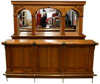 Contemporary Oak Saloon Front and Back Bar With