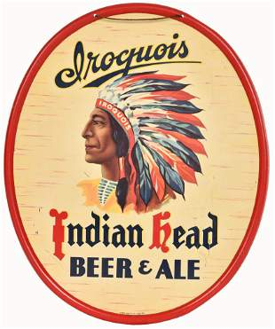 Iroquois Indian Head Beer & Ale Metal Sign