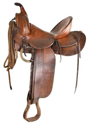 F.M. Stern San Jose, Cal Leather Roping Saddle