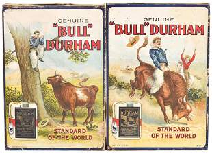2 Bull Durham Tobacco Store Display Boxes (cowboy
