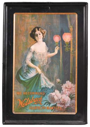 Early Welsbach Lights & Mantles Self Framed Sign