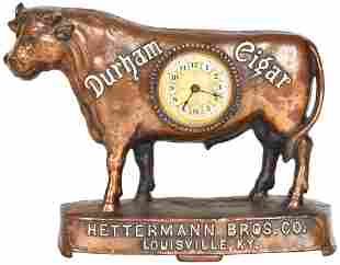 Durham Cigar Copper Flash Cast Iron Bull Clock
