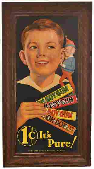 """Oh Boy Gum """"It's Pure!"""" Tin Sign"""