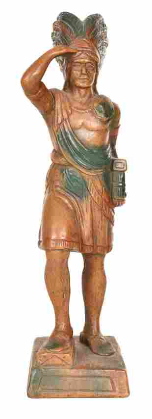 Small Plaster Cigar Store Indian Statue