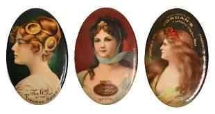 Three Rare Oval Pocket Advertising Mirrors