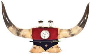 Bull Horns & Hoofs Desk Clock Ink Well