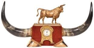 Bull Figure Horns & Hoofs Desk Clock