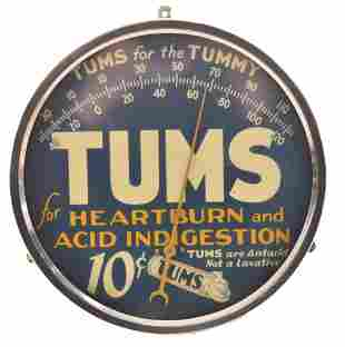Tums for the Tummy Round Metal Thermometer