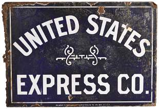 Rare United States Express Co. Porcelain Sign
