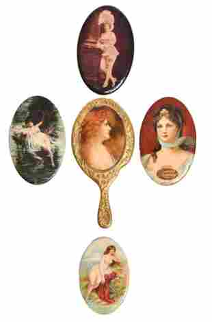 5-Celluloid Oval Pocket Mirrors