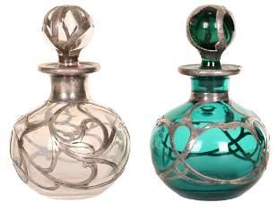 2-Small Silver Overlay Perfume Bottles