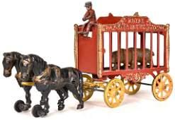 Hubley Cast Iron Royal Circus Bear Wagon