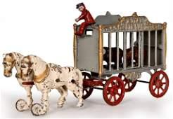 Hubley Cast Iron Royal Circus Bear Wagon w/side door