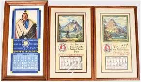 3-Framed Great Northern Railroad Calendars