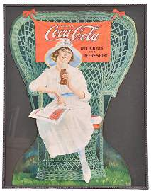 1919 Coca-Cola Lady Sitting in Winged Wicker Chair