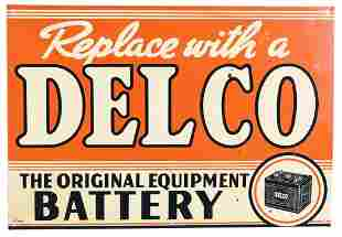 Replace with a Delco Battery w/logo Metal Sign