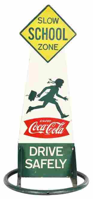 "Coca-Cola w/Fish Tail Logo ""Slow School Zone"" Sign"
