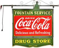 Drink Coca-Cola Fountain Service Porcelain Sign