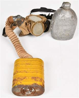 Military Canteen & Gas Mask WWI vintage canteen