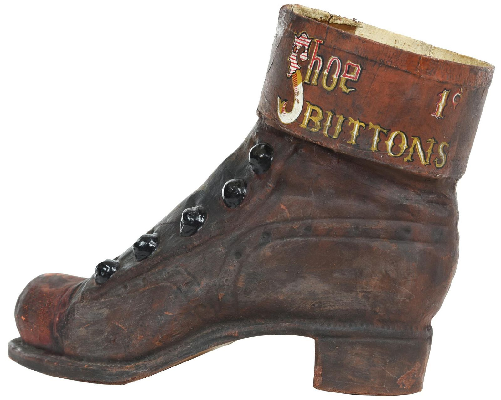 Paper Mache Shoe Button Display