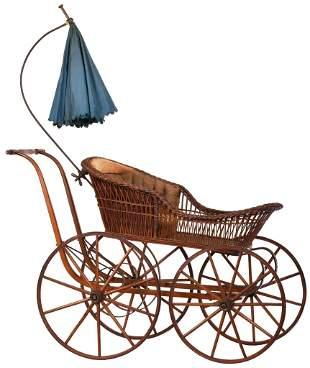 Wicker Baby Buggy w/Original Interior & Parasol