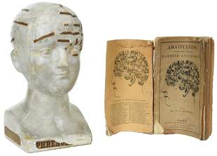 Plaster Phrenology Vago 1878 w/two books