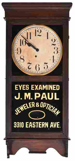 "Ingram Advertising Oak Clock ""J.M. Paul Jeweler &"