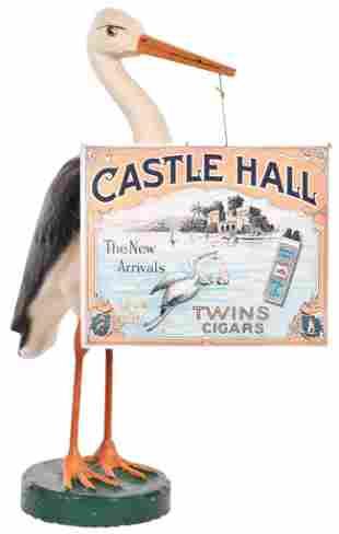 Castle Hall Cigars Paper Mache Store Display & Sign
