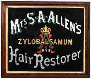 Mrs. S.A. Allen's Hair Restorer Reverse Painted on
