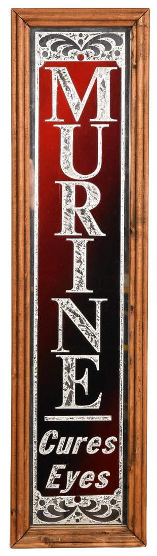 """Murine """"Cures Eyes"""" Reverse Painted Vertical Glass Sign"""