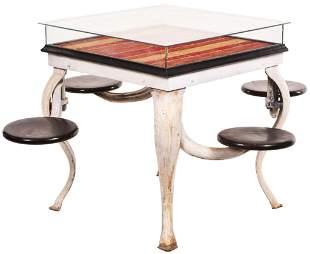 Cast Iron Soda Fountain Table w/Glass Showcase Top,