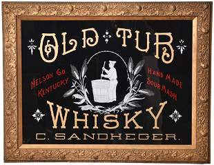 Old Tub Whisky Reverse Painted On Glass Sign
