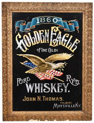 Golden Eagle Pure Rye Whiskey Reverse Painted on Glass
