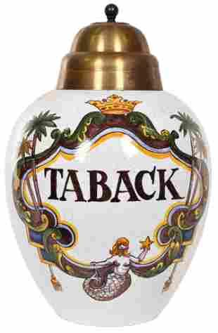 """Dutch Delft Polychrome Tobacco Jar """"Taback"""" w/Mermaid"""