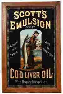 Scott's Emulsion Cod Liver Oil Reverse Painted on Glass