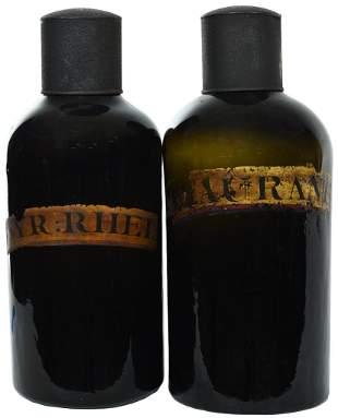 2-Large Dark Green Glass Apothecary Jars w/Metal Lids